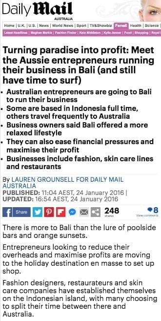 Aussie entrepreneurs Zoe Watson Bliss Bali Retreat Daily Mail online 1