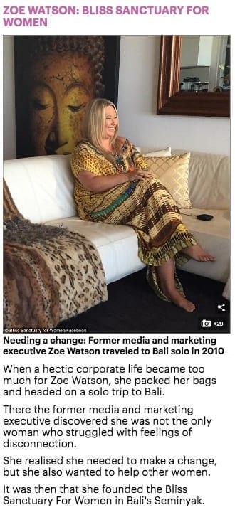 Aussie entrepreneurs Zoe Watson Bliss Bali Retreat Daily Mail online 3