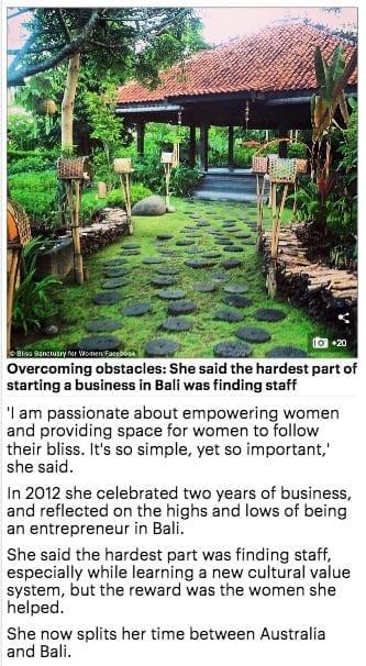 Aussie entrepreneurs Zoe Watson Bliss Bali Retreat Daily Mail online 4