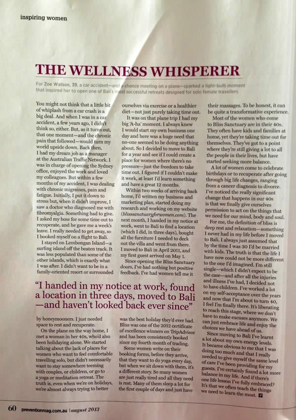 Prevention Magazine: Inspiring Women: The Wellness Whisperer 1