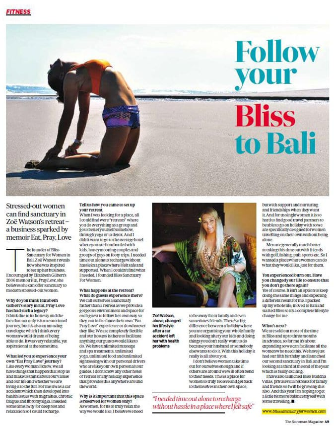 The Scotsman Magazine: Follow your Bliss to Bali