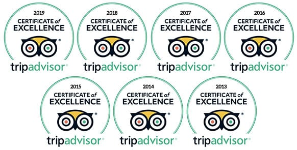 Trip Advisor Certificate of Excellence 2013-2019