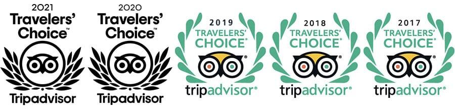 Trip Advisor Travelers' Choice 2017, 2018, 2019, 2020, 2021