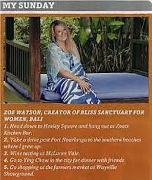 Sunday Mail: My Sunday – Zoë Watson creator of Bliss Sanctuary For Women.